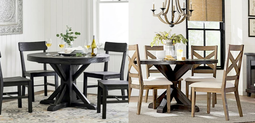pottery barn copycat post - farmhouse black round table