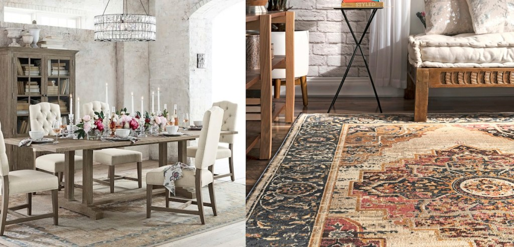 pottery barn wayfair patterned medallion rugs copycats side-by-side