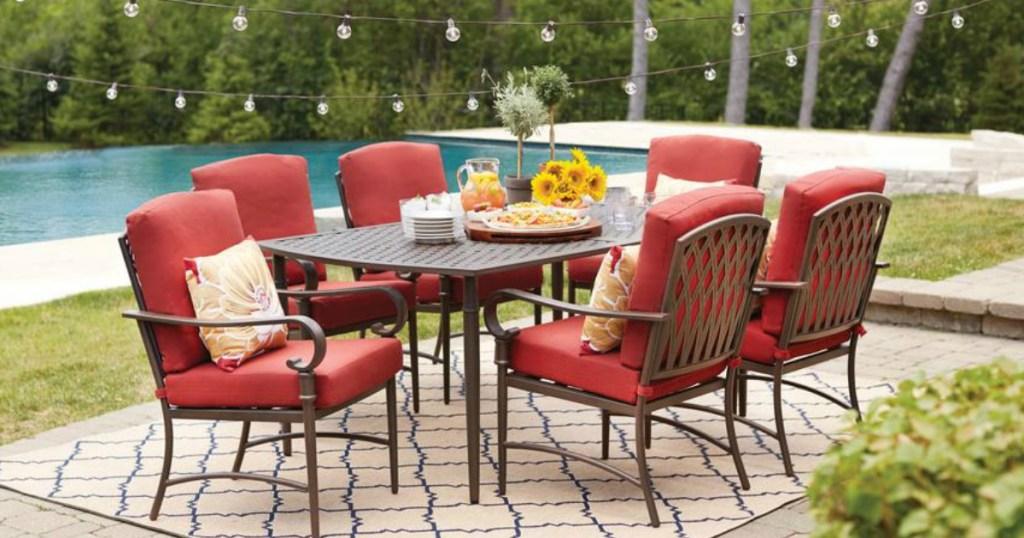 7 piece metal outdoor dining set
