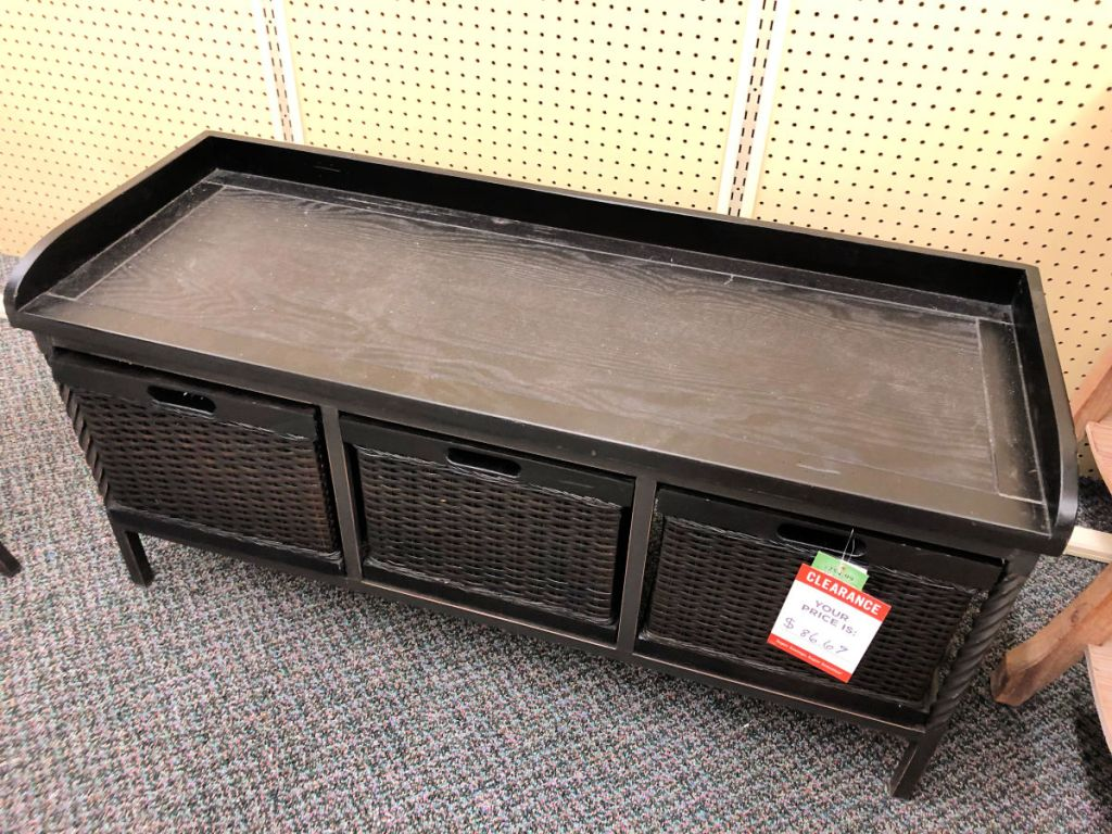 Dark Brown Entry Storage Unit with Three Wicker Baskets in hobby lobby