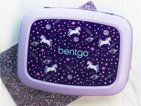 purple Bentgo Unicorn Bento Box on a glittery mat