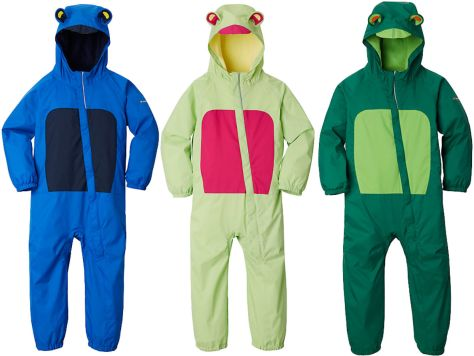 blue, light green, and dark green Columbia Kitteribbit Rain Suit