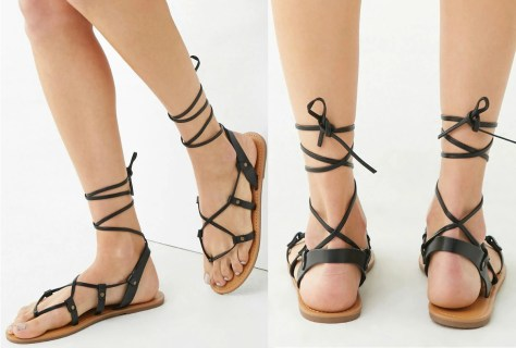 Leather wrap around tie up sandals from Forever 21