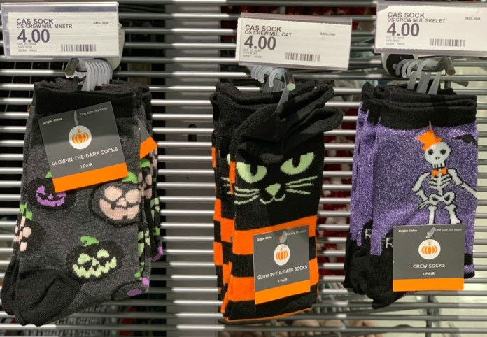 Women's Glow-in-the-dark socks in Halloween prints on rack in Target