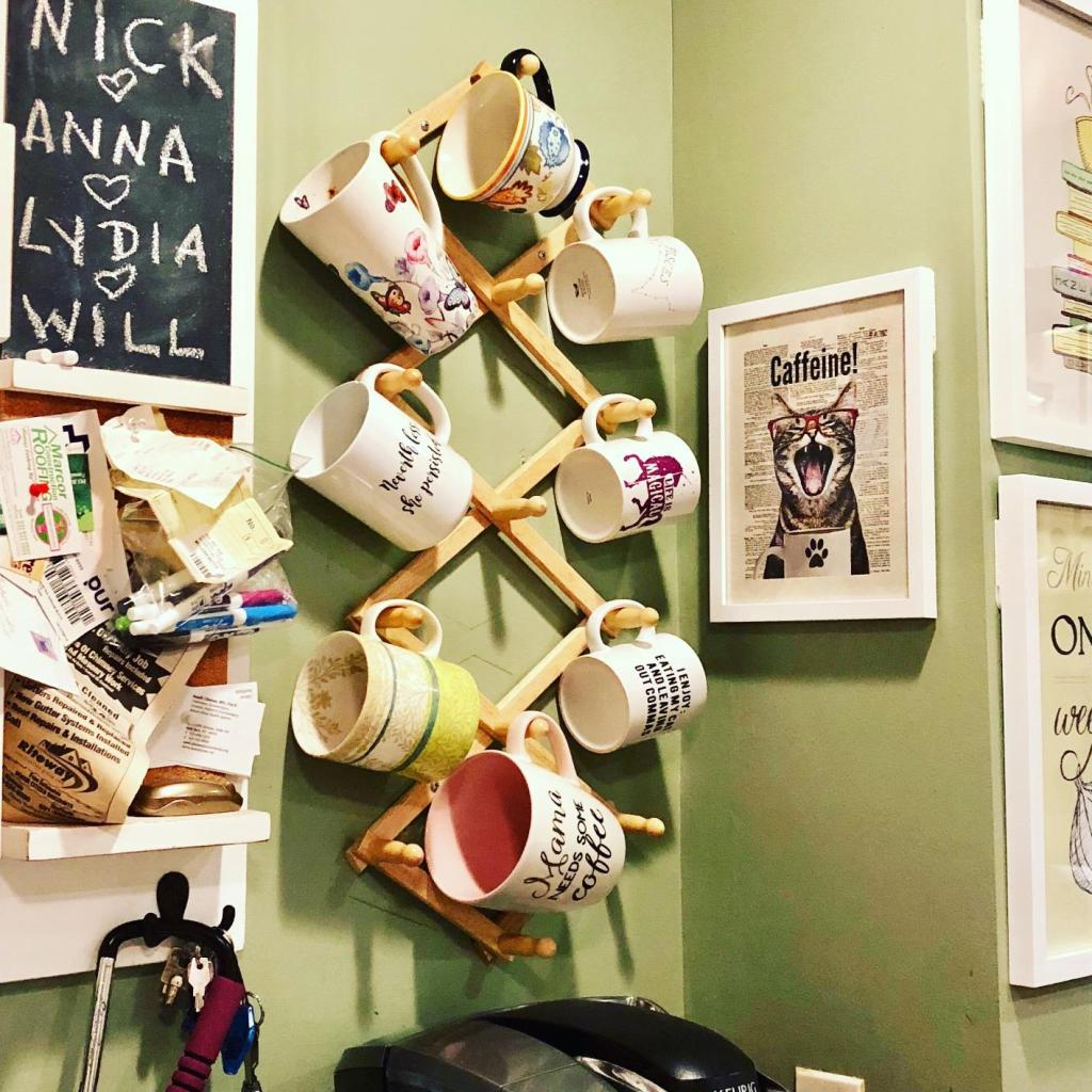 wall mounted coffee mug hanging racks