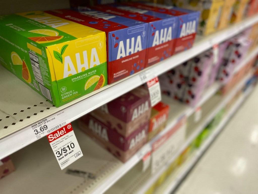 AHA sparkling water packs on Target shelf