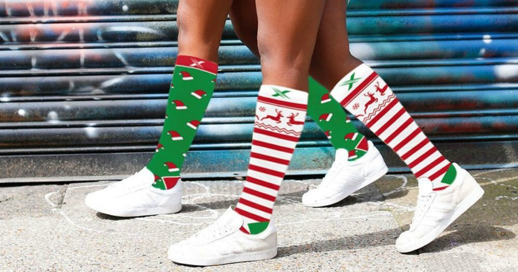 women walking wearing Holiday Compression Socks