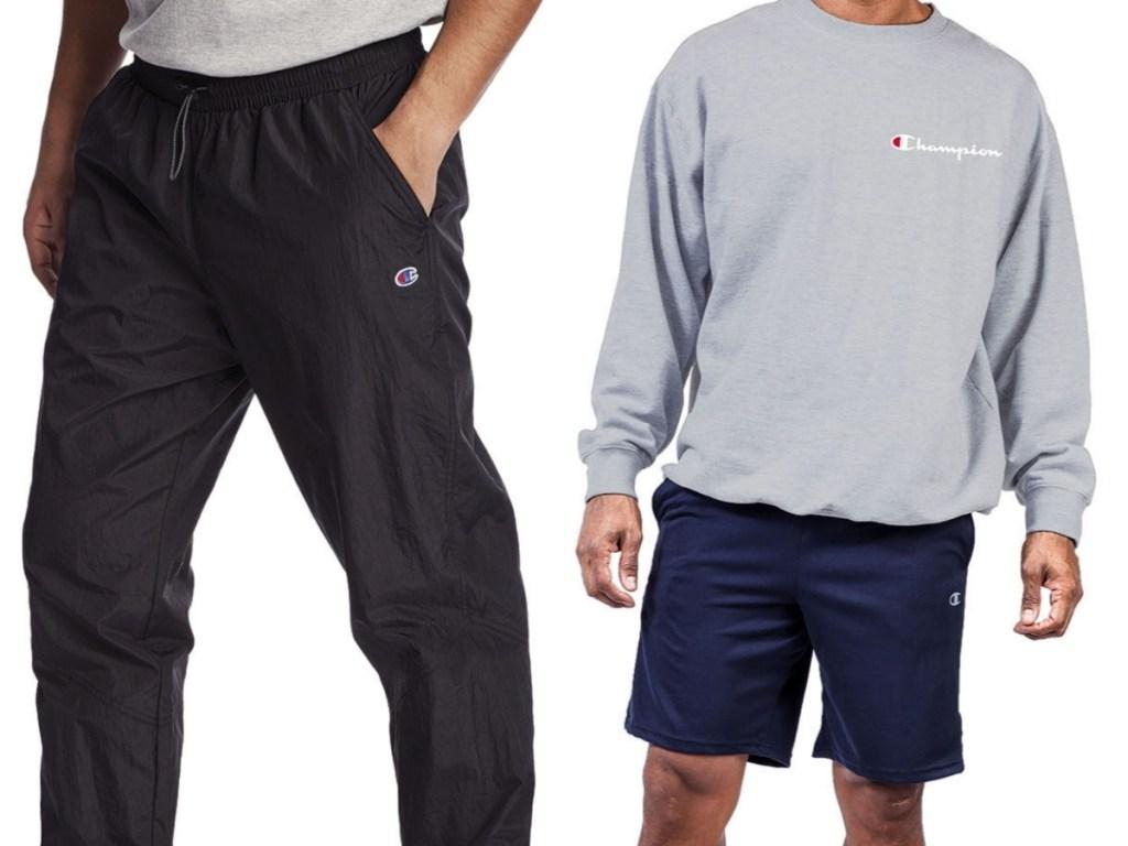 champion men's black workout pants and big and tall sweatshirt