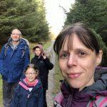 Family group in Gisburn forest, all smiling