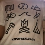 White tee with outdoor symbols and hip2trek.co.uk