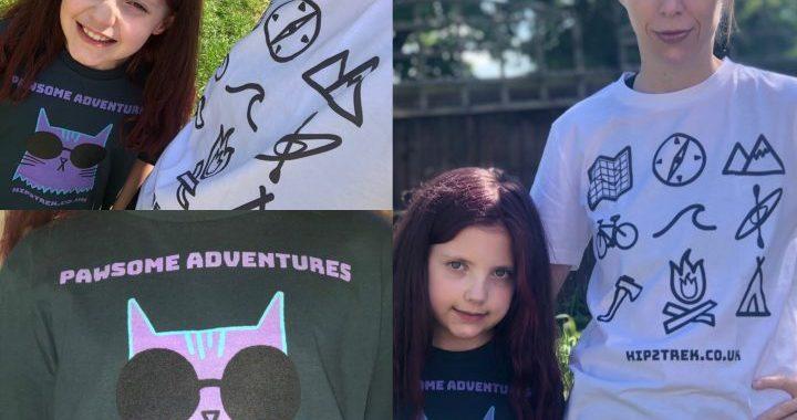 Collage of pics of Hip2trek and Daughter wearing Hip2trek tees