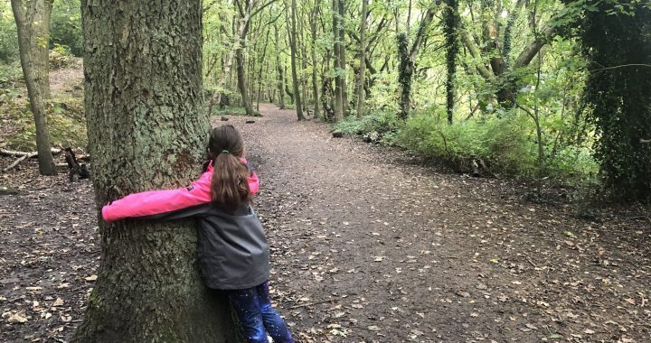 Girl hugs a tree in woodland