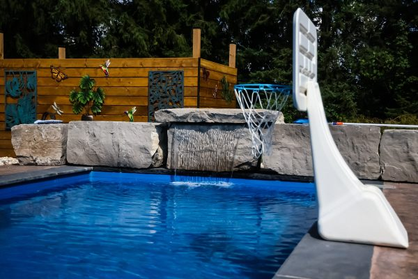 sheer descent water feature for fiberglass pool