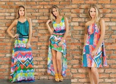 Vestido com tecido colorido