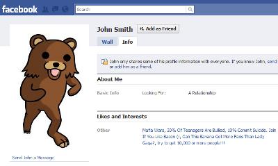 Pedobear en Facebook