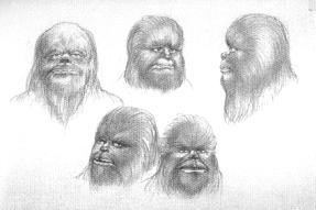 Bocetos de la cara de Chewbacca
