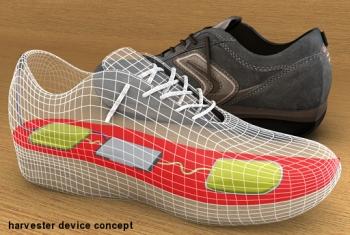 Diseño conceptual de Instep Nanopwer para generar electricidad mientras caminas