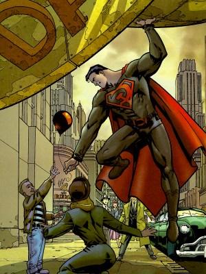 Superman: Red Son salvando a un niño en el Daily Planet