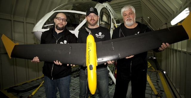 19/02/2011 NEWS: From left: Jeffrey Milstein, Christopher Aultman and Paul Watson from the Sea Shepherd with a drone. Picture: Barbara Veiga - Sea Shepherd