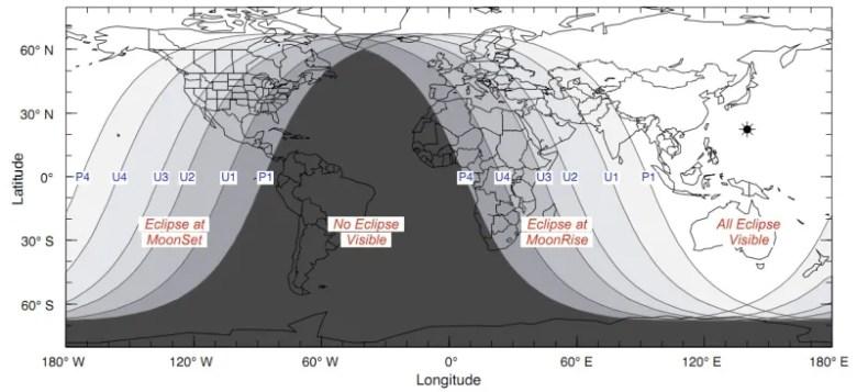 Visibilidad Eclipse - Esquema NASA