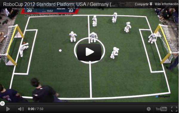 Competición de robots jugando al fútbol