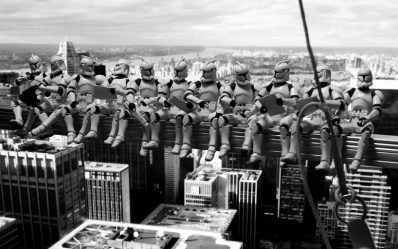 Star Wars - troopers atop a skyscraper (charles c. ebbets's 'lunchtime atop a skyscraper')