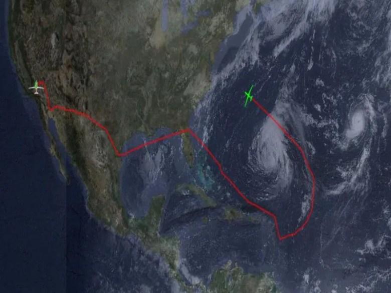 nasa mapa huracan leslie dron