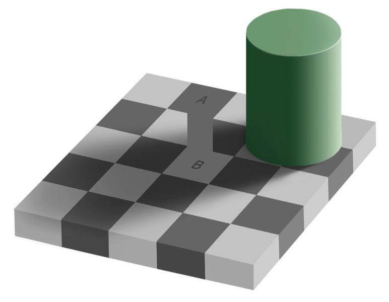 Al unir la celda A con la B se demuestra que son del mismo color.