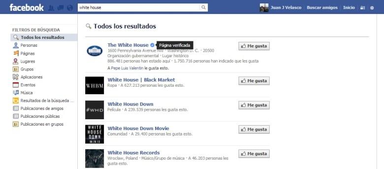 Pagina verificada casa blanca (2) - Facebook lanza perfiles y las páginas verificadas