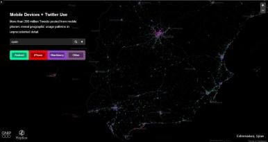 España mapa de tweets