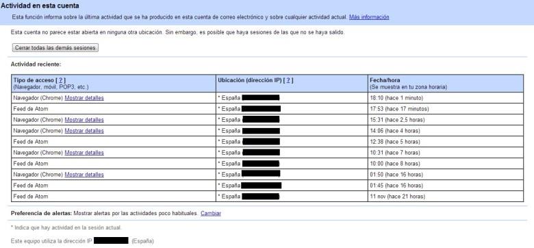 Actividad cuenta de Gmail
