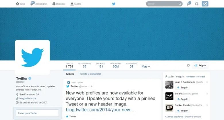 twitter nuevo perfil