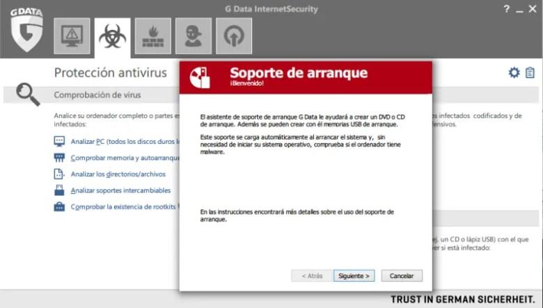 soporte de arranque g data internet security