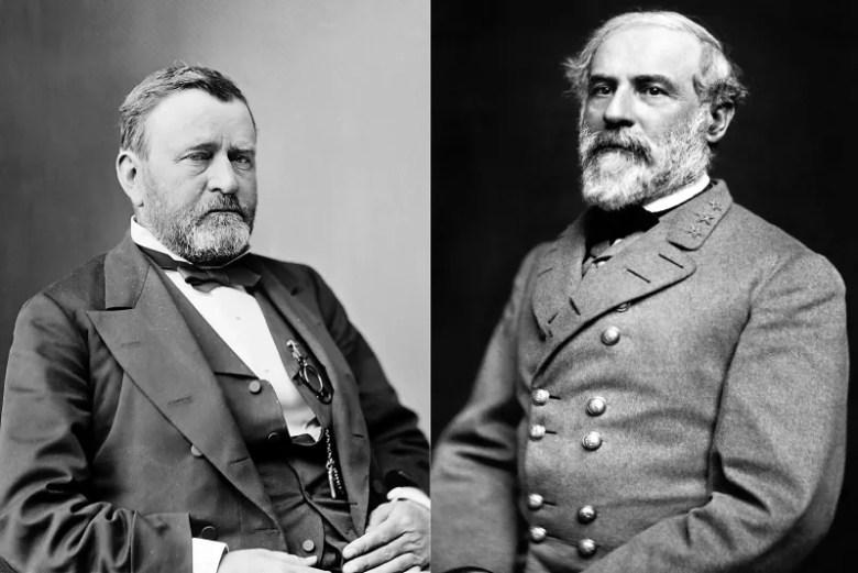 General Grant (izquierda)  de la Unión, y General Lee (derecha) de los Confederados