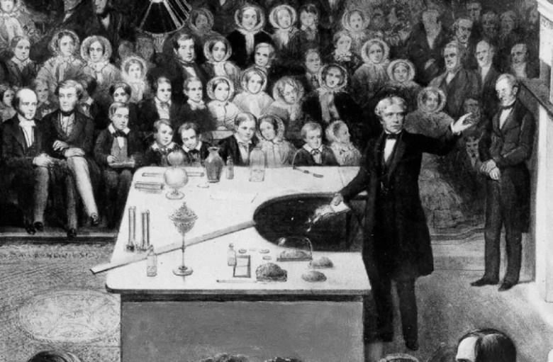 Michael Faraday en una de las Royal Institution Christmas Lectures.