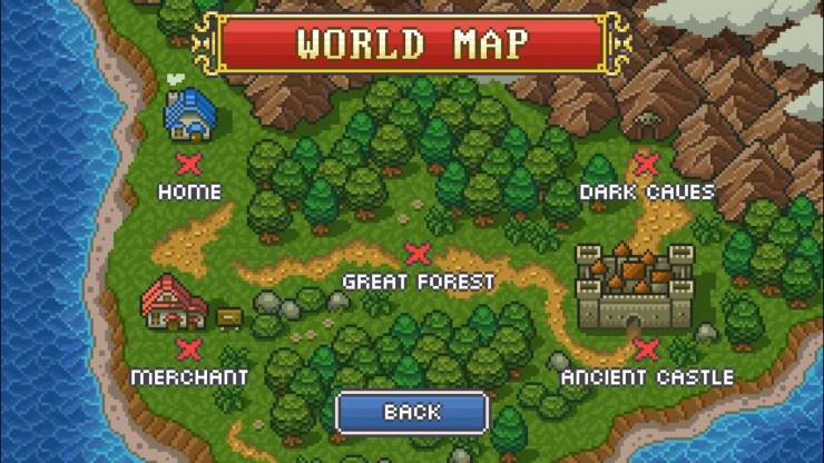 Este es el mapa con los tres entornos del juego. *Dark Caves* sólo saldrá cuando lo desbloqueemos al pasar niveles del segundo.