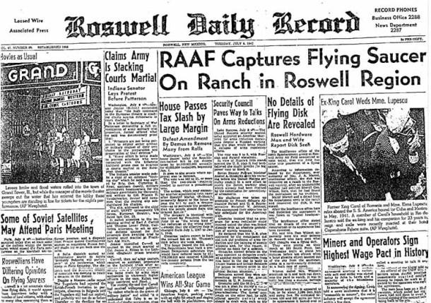 """Portada del Roswell Daily Record del 8 de julio de 1947, anunciando la captura de un """"disco volante"""". <a href="""