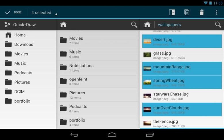 Exploradores de archivo para Android