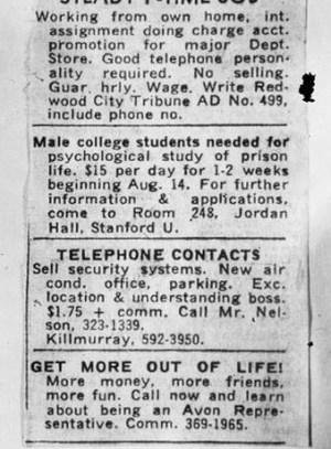 Recorte del anuncio en el periódico en el que se pedían candidatos para el experimento. Foto de Philip Zimbardo, vía <a href=