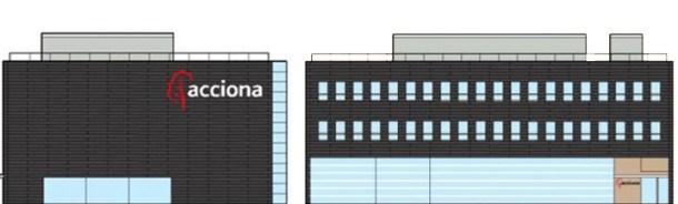 """Fachada oeste (izquierda) y fachada norte (derecha). Edificio cero emisiones ([Acciona Energía](http://www.acciona-energia.es """"Acciona Energía""""))"""