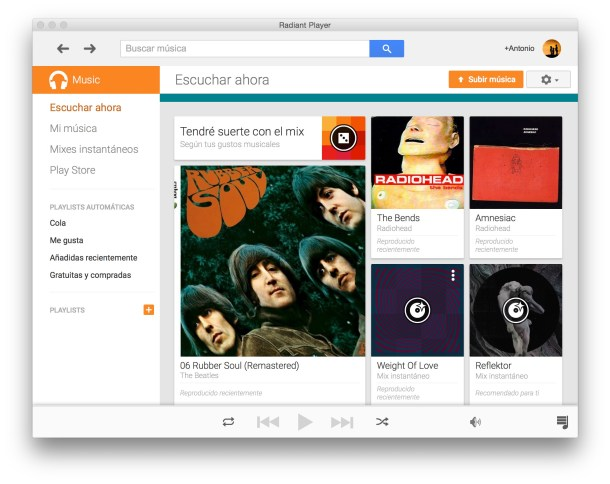 Radiant, el cliente para Google Play Music.