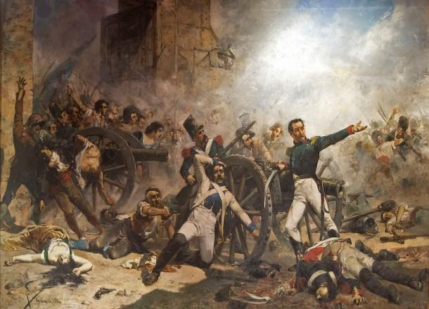 Defensa del parque de artillería de Monteleón, donde los militares españoles Luis Daoíz, Pedro Velarde, Jacinto Ruiz y Rafael Arango lucharon contra tropas francesas desafiando órdenes de no atacar. Cuadro de Joaquín Sorolla <a href=