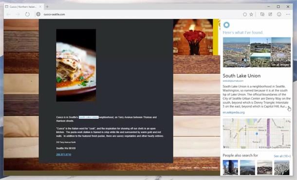 Cortana integrado en Microsoft Edge