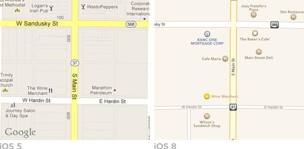 Imagen iOS 5 vs iOS 8 Maps de Mercuri.iO