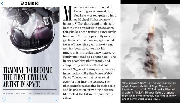 Cómo se lee un artículo de la web Wired en Apple News para iPhone.