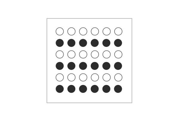 """""""Ley de la semejanza"""". Debido a la similitud de colores, es más fácil ver líneas horizontales que verticales."""