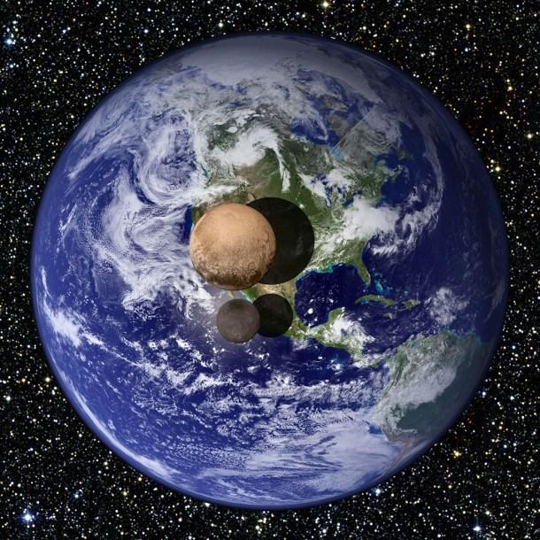 Gráfico comparativo del tamaño de La Tierra, Plutón y su luna Charon (Fuente: NASA)
