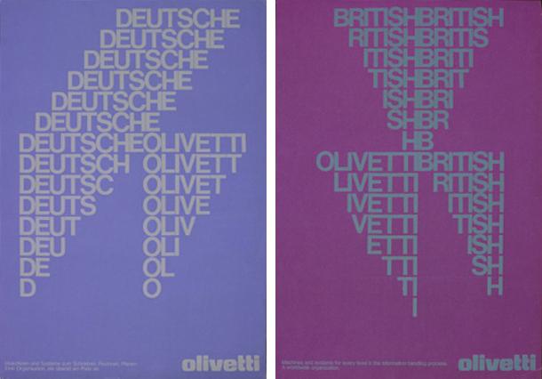 Dos carteles publicitarios de Walter Ballmer para Olivetti (1975). Fuente: Thinkingform