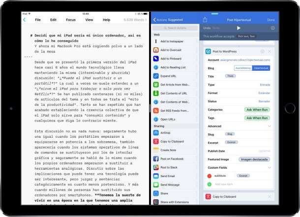 iPad Pro - Publicar en WordPress