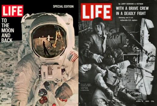Izquierda: 11 de agosto de 1969. Foto: NASA. Derecha: 16, de abril de 1965. Foto: Larry Burrows